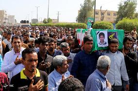 تشییع پیکر شهید روشی، شهید 10 ساله ایرانی در حمله انتحاری داعش در ناصریه عراق - رودان