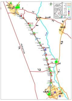 نقشه مسیر بین دو شهر نجف و کربلا