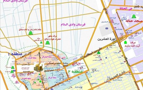 نقشه شهر نجف {محدوده حرم امام علی (ع)}