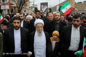 حضور آیت الله ناصر مکارم شیرازی از مراجع تقلید در جشن ۲۲ بهمن چهل سالگی شهر مقدس قم