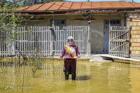 ناز بی بی، ۳۵ ساله، خانه دار. خانه اش زیر آب رفته و نشست کرده است. او در شهر مانده و از منزلشان نگهداری میکند و همسر و پسرش در اول شهر برای ساخت سنگر رفتهاند.