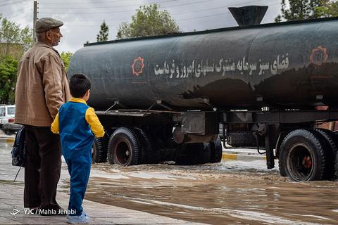 بارش شدید باران و سیلاب در شهر کرمان
