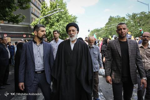 حضور حجتالاسلام هادی خامنهای چهره اصلاحطلب در راهپیمایی روز جهانی قدس ۹۸ تهران