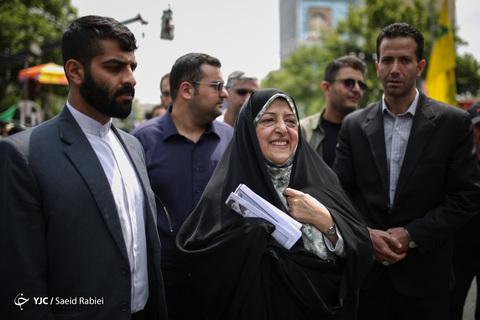 حضور معصومه ابتکار معاون امور زنان و خانواده رئیسجمهور در راهپیمایی روز جهانی قدس ۹۸ تهران
