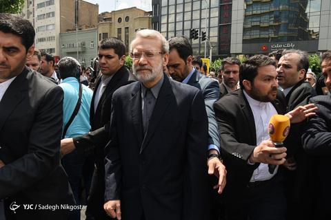 حضور علی لاریجانی رئیس مجلس در راهپیمایی روز جهانی قدس ۹۸ تهران