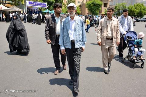 حضور غلامعلی حدادعادل رئیس فرهنگستان زان و ادب فارسی در راهپیمایی روز جهانی قدس ۹۸ تهران