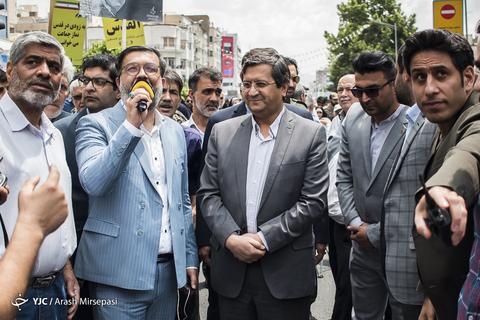 حضور عبدالناصر همتی رئیس کل بانک مرکزی در راهپیمایی روز جهانی قدس ۹۸ تهران