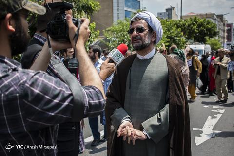 حضور حجتالاسلام میثم امرودی معاون سابق شهردار تهران در راهپیمایی روز جهانی قدس ۹۸ تهران
