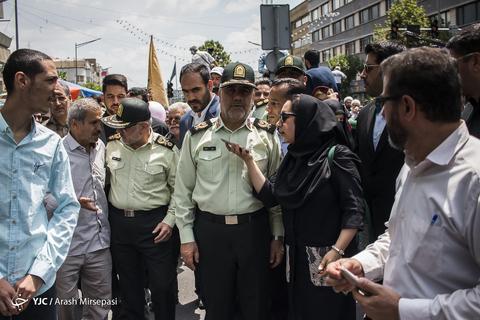 حضور سردار حسین رحیمی فرمانده پلیس پایتخت در راهپیمایی روز جهانی قدس ۹۸ تهران