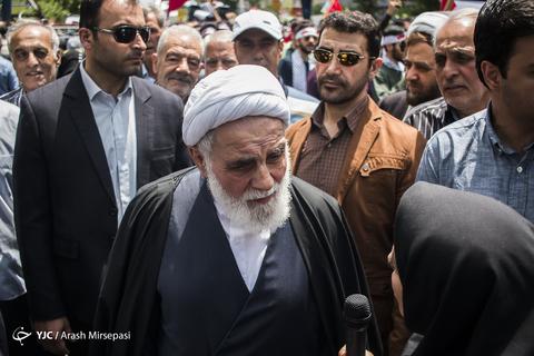 حضور حجتالاسلام علیاکبر ناطقنوری عضو مجمع تشخیص مصلحت نظام در راهپیمایی روز جهانی قدس ۹۸ تهران