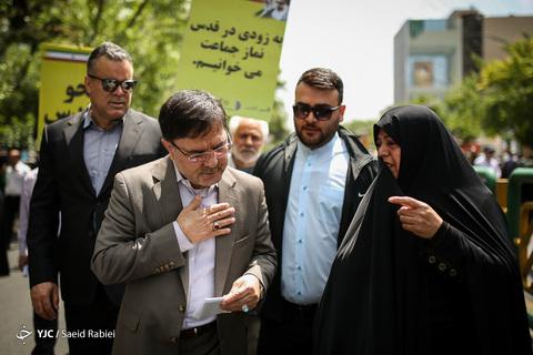 حضور بهروز نعمتی سخنگوی هیأت رئیسه مجلس در راهپیمایی روز جهانی قدس ۹۸ تهران