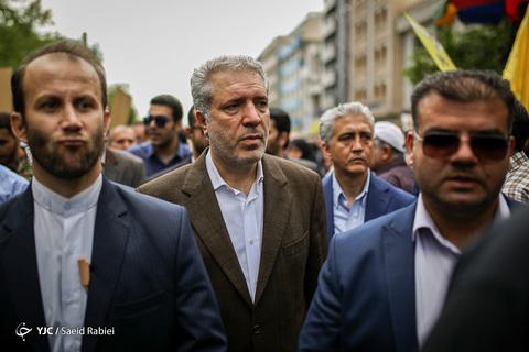 حضور علی اصغر مونسان رئیس سازمان میراث فرهنگی و گردشگری کشور در راهپیمایی روز جهانی قدس ۹۸ تهران
