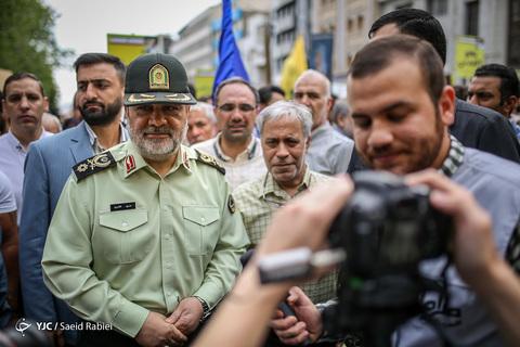 حضور سردار حسین اشتری فرمانده نیروی انتظامی کشور در راهپیمایی روز جهانی قدس ۹۸ تهران