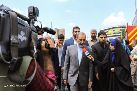 حضور علیاکبر ولایتی رئیس هیأت امنای دانشگاه آزاد اسلامی در راهپیمایی روز جهانی قدس ۹۸ تهران