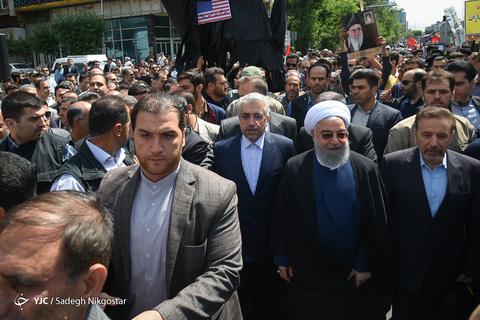 حضور حجتالاسلام حسن روحانی رئیس جمهور در راهپیمایی روز جهانی قدس ۹۸ تهران