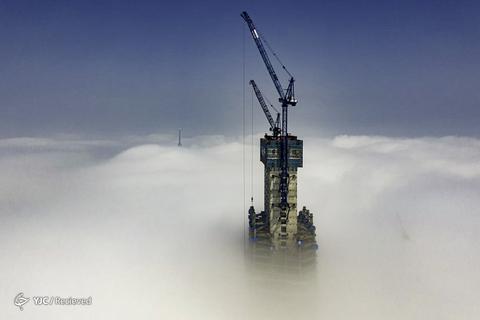 یک نمایش هوایی از مرکز شهر هائیتی چینگدائو در استان شاندونگ، چین که در حال ساخت است