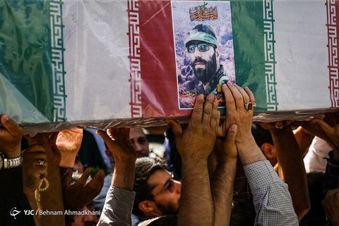 مراسم تشییع پیکر شهید مدافع حرم «محمد جنتی» معروف به «حاج حیدر» فرمانده ایرانی لشکر زینبیون پاکستانی