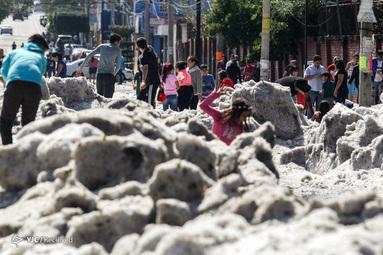بارش سنگین تگرگ در مکزیک