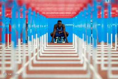 حسن فلاحان از ایتالیا در مسابقات 110 متر مردان در بازیهای ملی مردان اروپایی در ورزشگاه دینامو مینسک، بلاروس