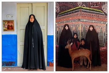صغری نوشک ۷۵ ساله - در سال ۱۳۷۳ با دختر، عروس و نوه اش به مشهد سفر کردند؛ که از آن سفر این عکس به یادگار مانده است.