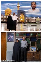 رضا محمدی ۵۹ ساله و همسرش نجیبه قرهخانی ۵۵ ساله - در سال ۱۳۹۰ با هم به مشهد سفر کردند؛ که از آن سفر این عکس به یادگار مانده است.
