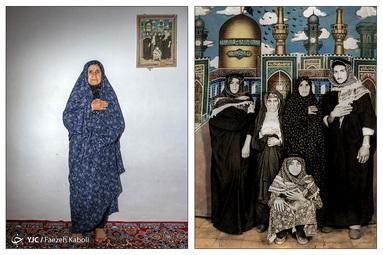 خدیجه بیبی کابلی ۷۶ ساله - در سال ۱۳۶۰ به همراه مادر شوهر و سه فرزندش به مشهد سفر کردند؛ که از آن سفر این عکس به یادگار مانده است.