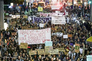 اعتراض به دولت برزیل درباره آتش سوزی در جنگلهای آمازون