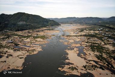 نمای هوایی از رودخانه مکونگ در شمال شرقی تایلند