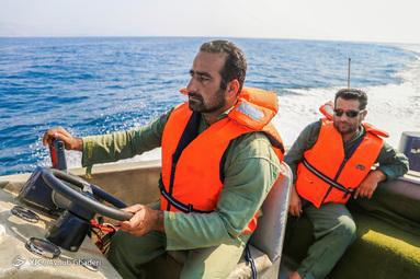 سربازان پاسگاه مرزی دریایی هندورابی در خلیج فارس