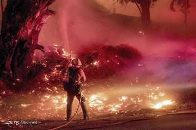 ادامه آتش سوزی در سانتا پائولا ، کالیفرنیا