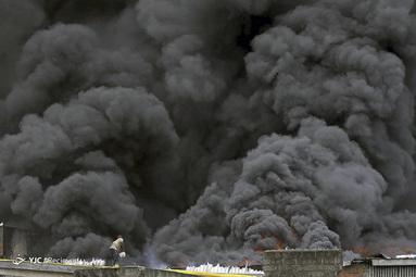 آتش سوزی در بازار Balogun در مرکز شهر لاگوس، نیجریه