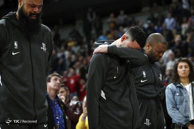 ادای احترام به کوبی برایانت قبل از بازی بسکتبال NBA