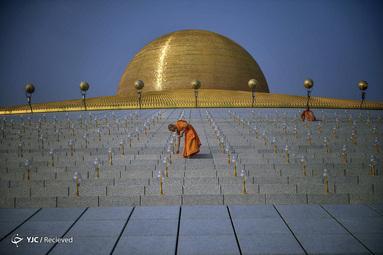 راهبان بودایی در زمان جشن ماخا بوچا در معبد وات دمماکاایا در بانکوک