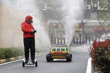 وسیله ضدعفونی با کنترل از راه دور در استان مرکزی هوبی چین