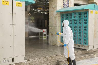 عملیات ضدعفونی کردن در برابر ویروس کرونا در کربلا معلی