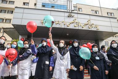مراسم تجلیل از مدافعان سلامت و کادر بهداشت و درمان بیمارستان امام رضا (ع) ارتش