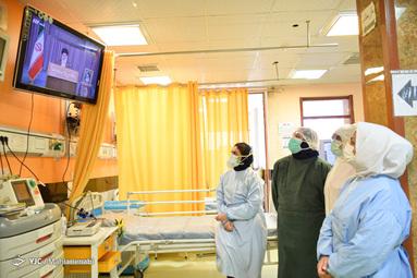 گوش فرا دادن به سخنرانی روز (day) جهانی قدس مقام معظم رهبری بوسیله کادر درمان ای سی یو بیمارستان شفا - کرمان