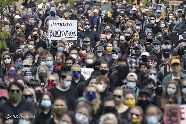 تظاهرکنندگان در اعتراض به قتل جورج فلوید در پورتلند، ماین