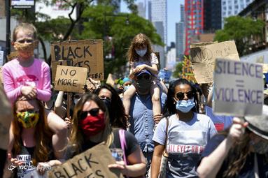 راهپیمایی در همبستگی با جنبش Black Lives Matter در بروکلین، نیویورک