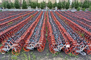 پارکینگ دوچرخه در Shenyang، استان لیائونینگ، چین
