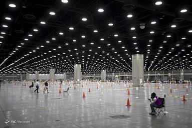نمای کلی از محل رای گیری در مرکز نمایشگاه کنتاکی در لوئیزویل