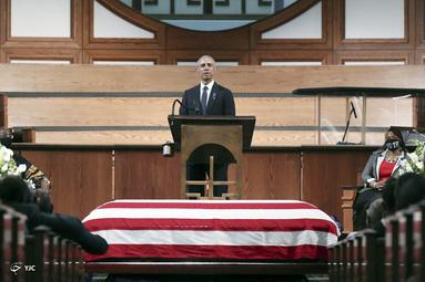 سخنرانی باراک اوباما در مراسم تشییع جنازه نماینده جان لوئیس در کلیسای باپتیست ابنظر در آتلانتا، جورجیا
