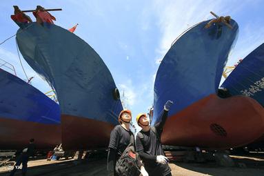 کارخانه کشتی سازی، در شهرستان شیانگشان استان ژجیانگ چین