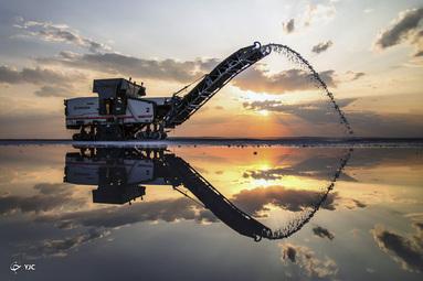 تولید نمک در دریاچه توز در قونیه، ترکیه